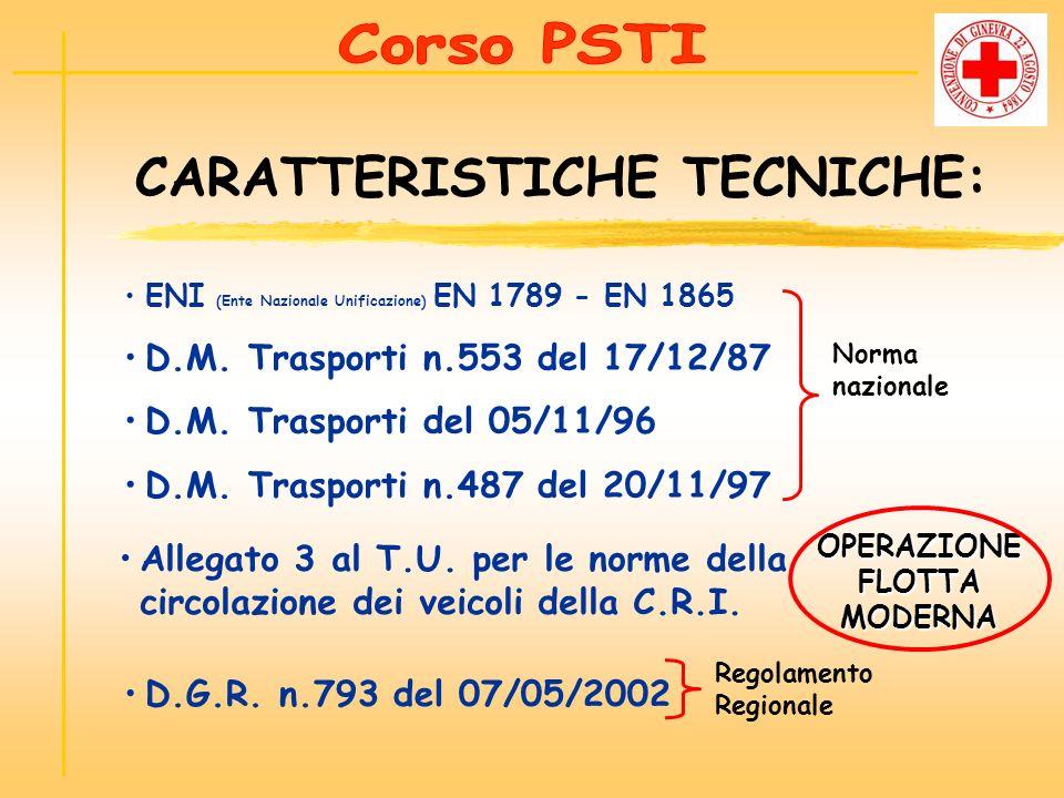 CARATTERISTICHE TECNICHE: OPERAZIONE FLOTTA MODERNA