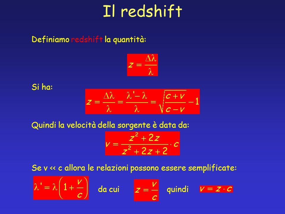 Il redshift Definiamo redshift la quantità: Si ha: