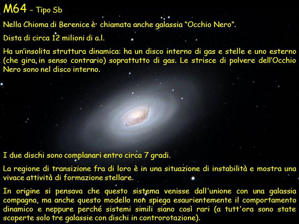 M64 – Tipo Sb Nella Chioma di Berenice è chiamata anche galassia Occhio Nero . Dista di circa 12 milioni di a.l.