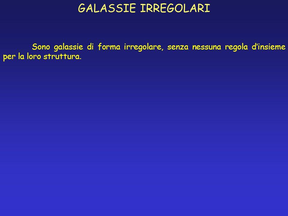GALASSIE IRREGOLARISono galassie di forma irregolare, senza nessuna regola d'insieme per la loro struttura.