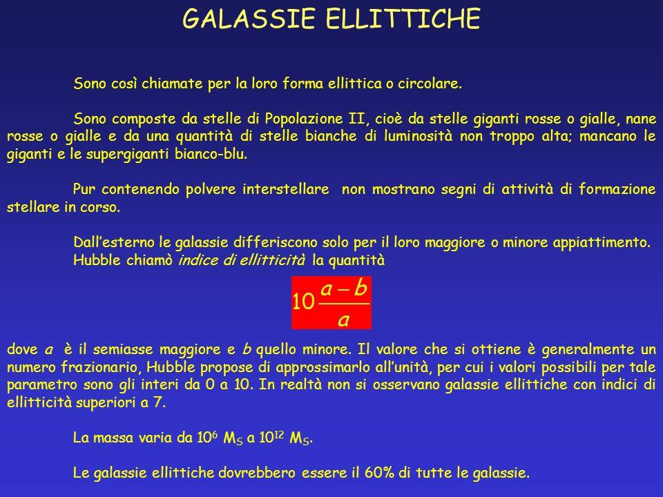 GALASSIE ELLITTICHE Sono così chiamate per la loro forma ellittica o circolare.
