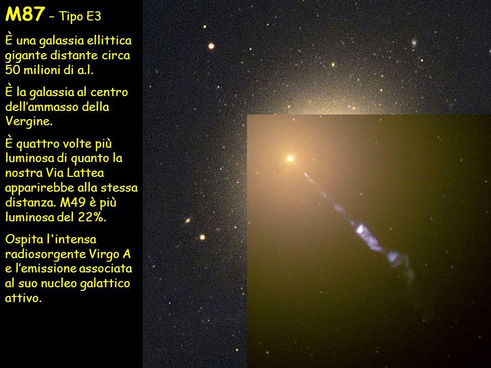 M87 – Tipo E3 È una galassia ellittica gigante distante circa 50 milioni di a.l. È la galassia al centro dell'ammasso della Vergine.