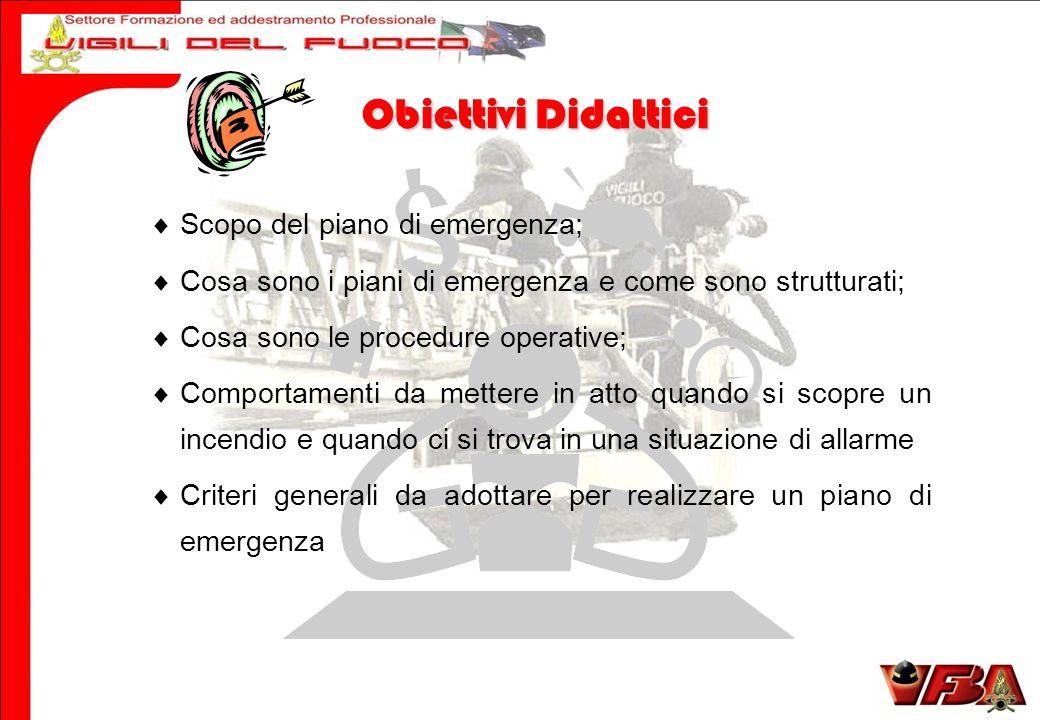 Obiettivi Didattici Scopo del piano di emergenza;