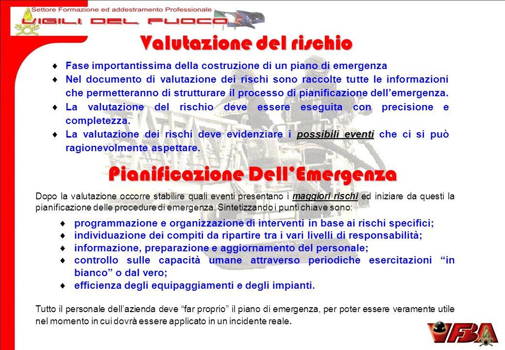 Valutazione del rischio Pianificazione Dell'Emergenza