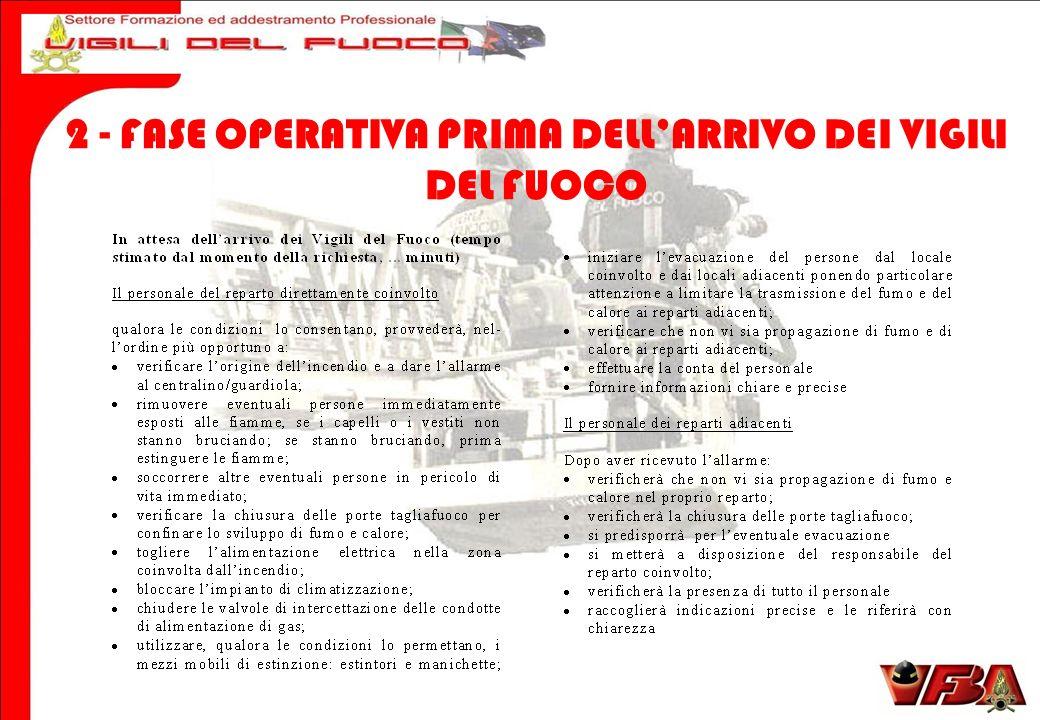 2 - FASE OPERATIVA PRIMA DELL'ARRIVO DEI VIGILI DEL FUOCO