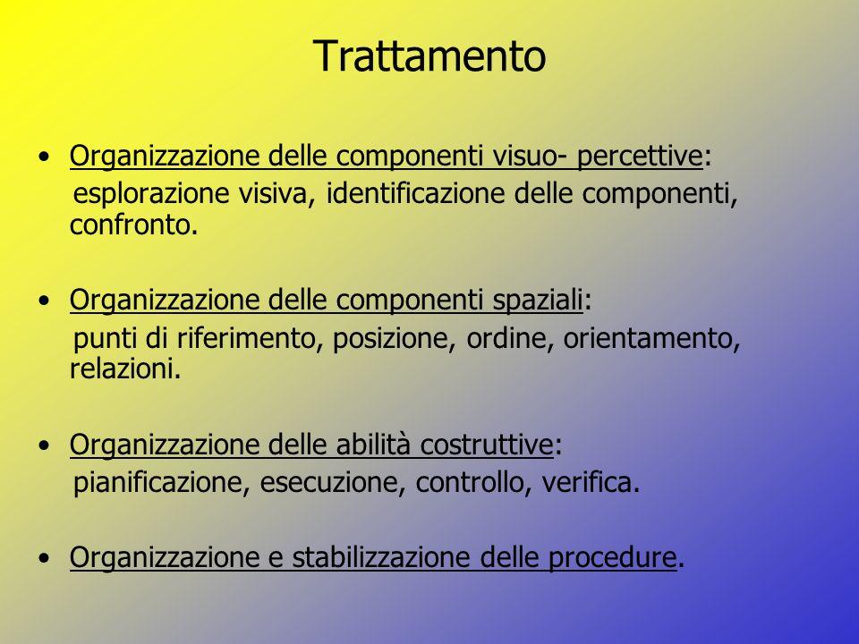 Trattamento Organizzazione delle componenti visuo- percettive:
