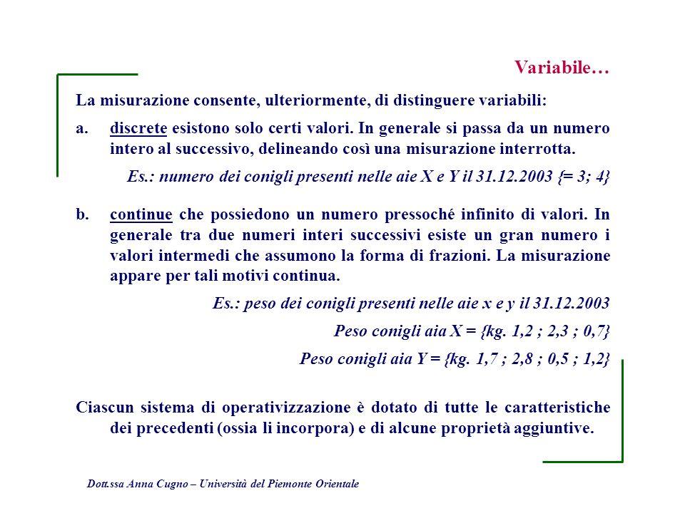Variabile… La misurazione consente, ulteriormente, di distinguere variabili:
