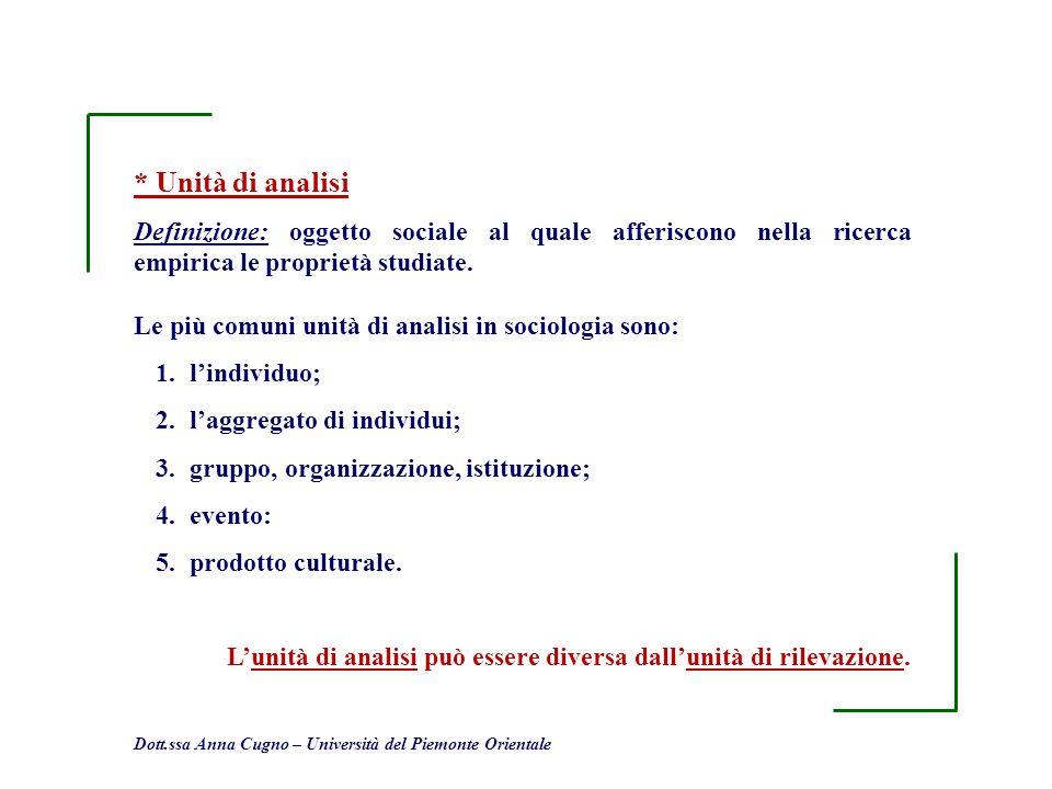 * Unità di analisi Definizione: oggetto sociale al quale afferiscono nella ricerca empirica le proprietà studiate.