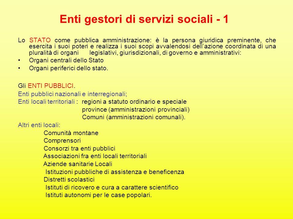 Enti gestori di servizi sociali - 1