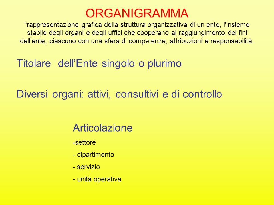 ORGANIGRAMMA rappresentazione grafica della struttura organizzativa di un ente, l'insieme stabile degli organi e degli uffici che cooperano al raggiungimento dei fini dell'ente, ciascuno con una sfera di competenze, attribuzioni e responsabilità.