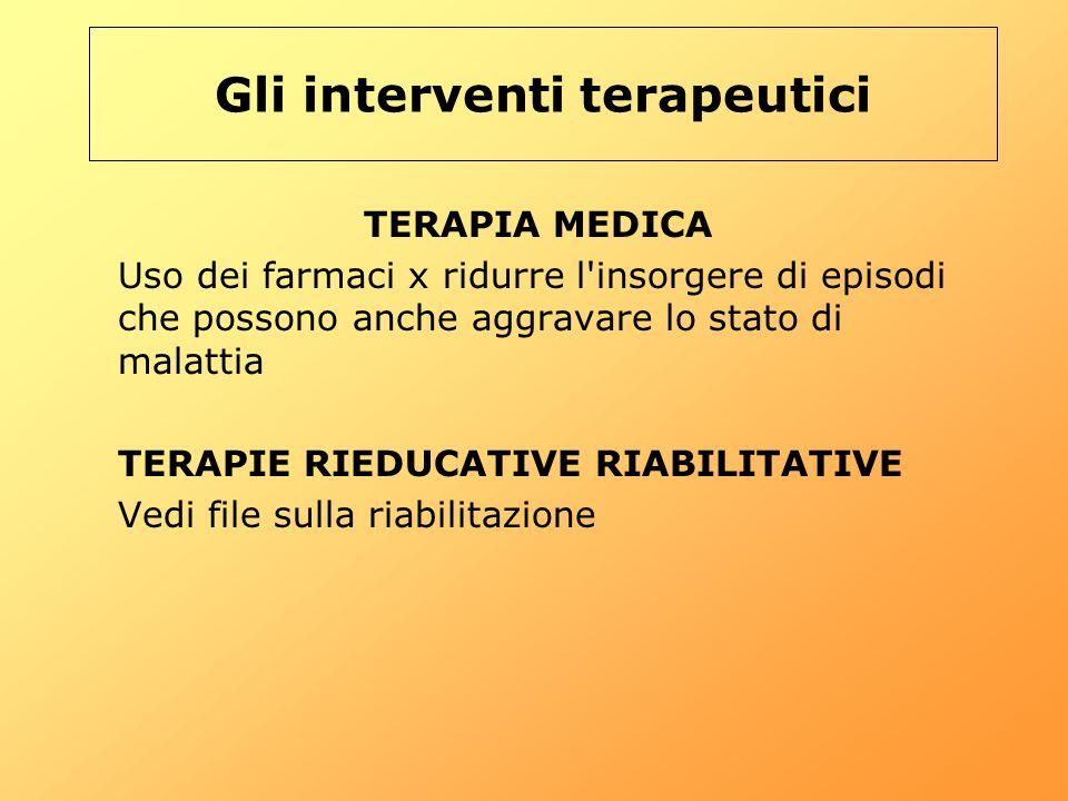 Gli interventi terapeutici