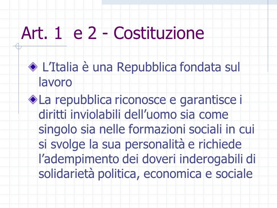 Art. 1 e 2 - Costituzione L'Italia è una Repubblica fondata sul lavoro