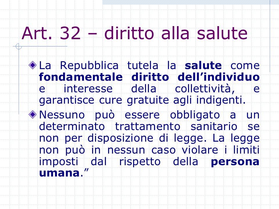 Art. 32 – diritto alla salute