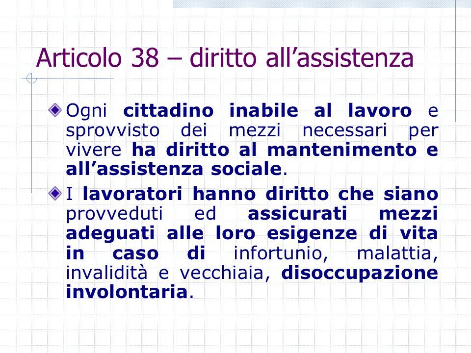 Articolo 38 – diritto all'assistenza