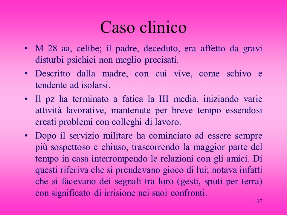 Caso clinicoM 28 aa, celibe; il padre, deceduto, era affetto da gravi disturbi psichici non meglio precisati.