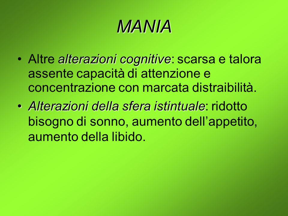 MANIA Altre alterazioni cognitive: scarsa e talora assente capacità di attenzione e concentrazione con marcata distraibilità.