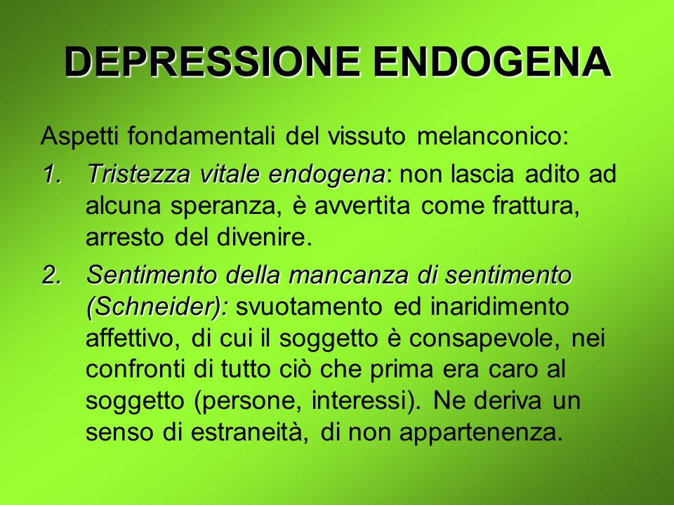 DEPRESSIONE ENDOGENA Aspetti fondamentali del vissuto melanconico: