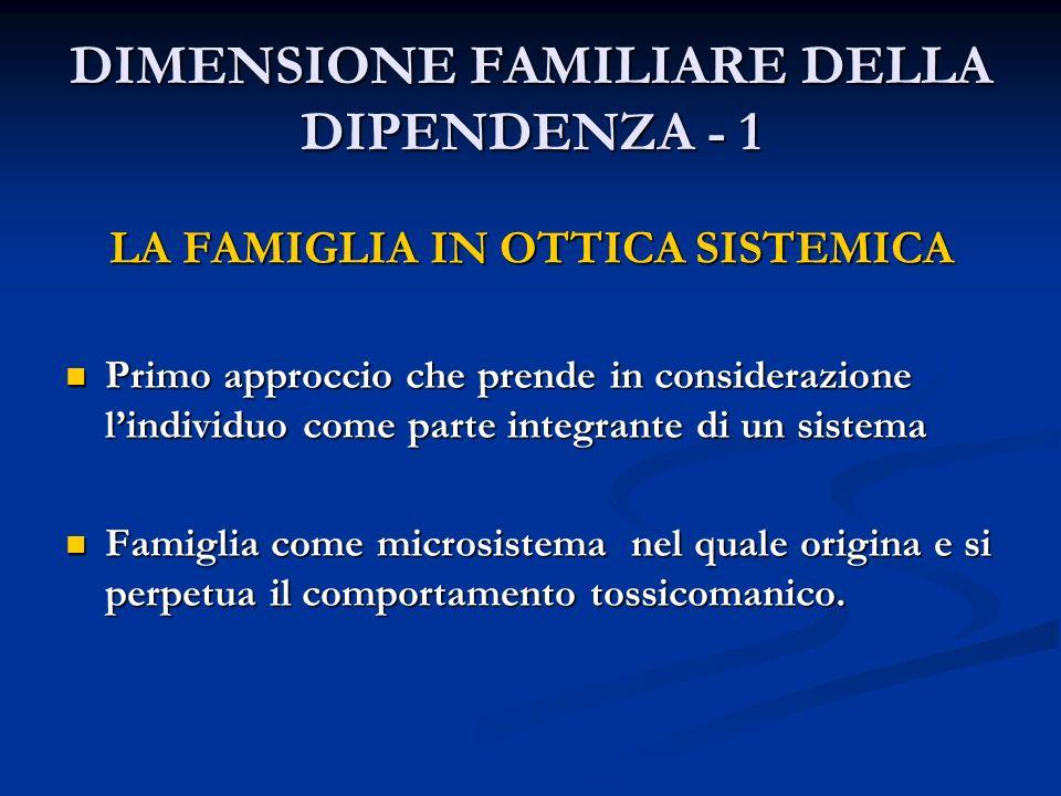 DIMENSIONE FAMILIARE DELLA DIPENDENZA - 1