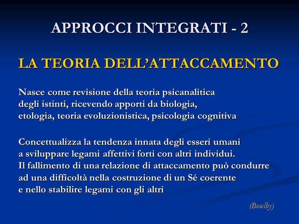 APPROCCI INTEGRATI - 2 LA TEORIA DELL'ATTACCAMENTO