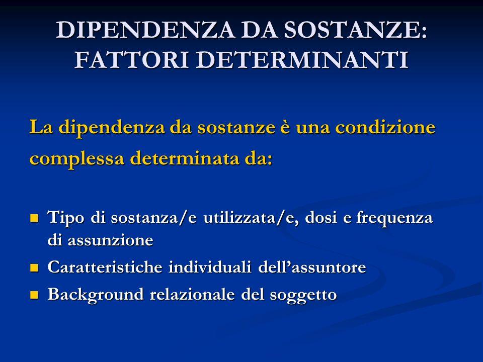 DIPENDENZA DA SOSTANZE: FATTORI DETERMINANTI