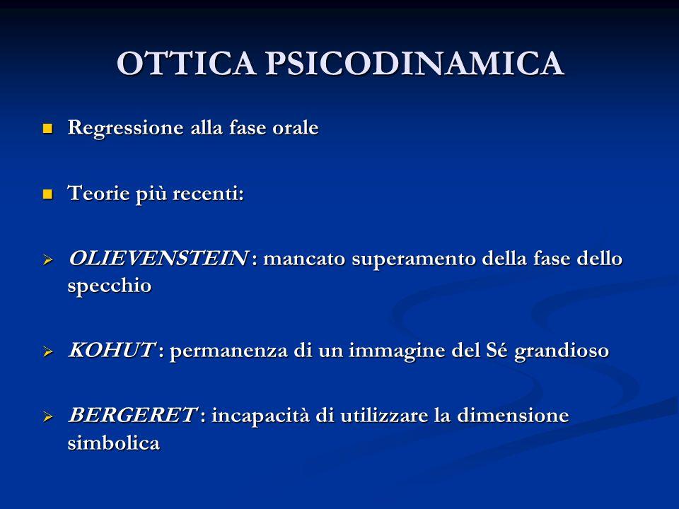 OTTICA PSICODINAMICA Regressione alla fase orale Teorie più recenti:
