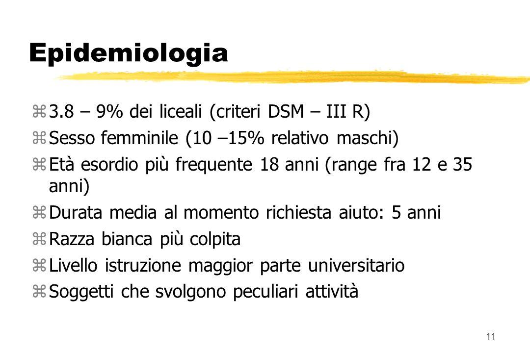Epidemiologia 3.8 – 9% dei liceali (criteri DSM – III R)