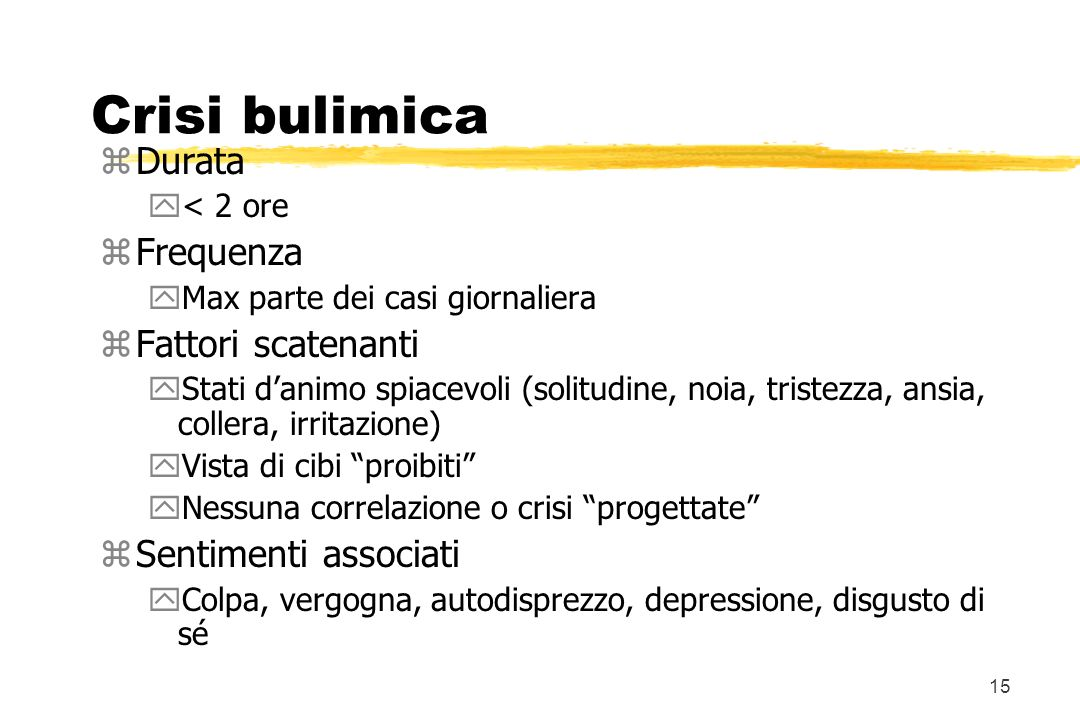 Crisi bulimica Durata Frequenza Fattori scatenanti