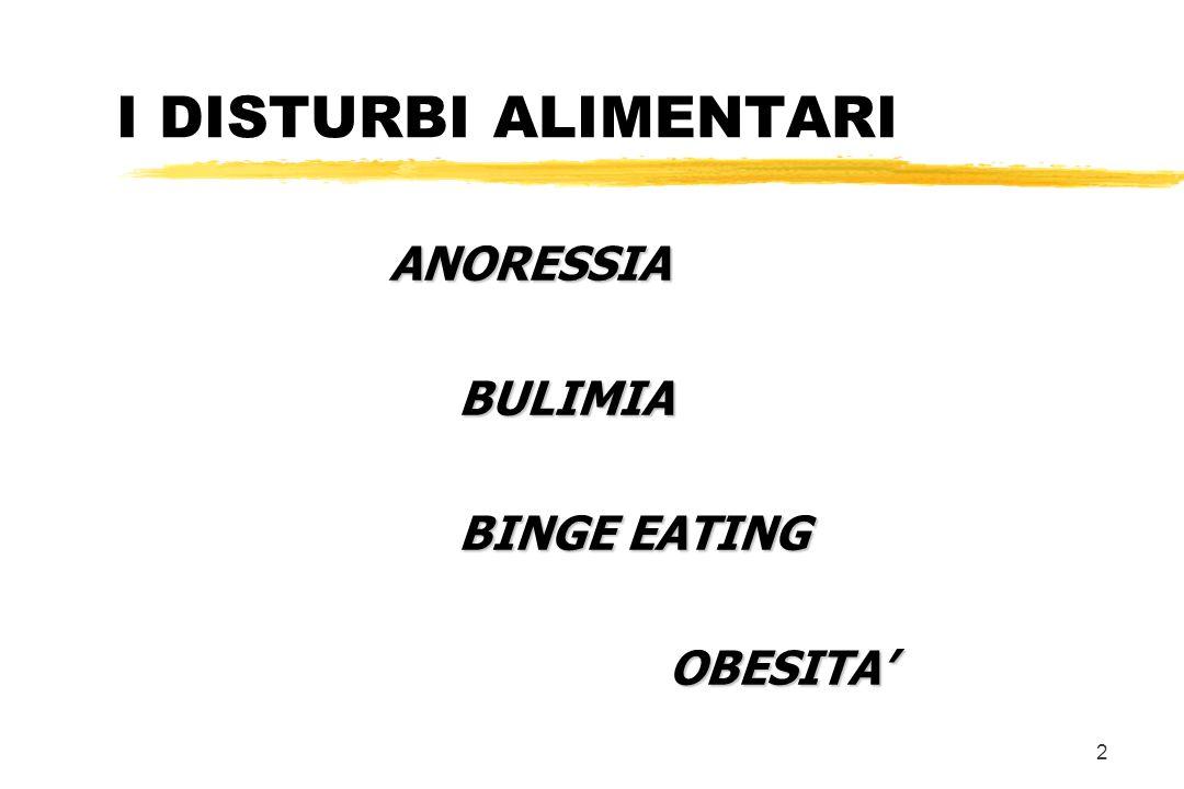 I DISTURBI ALIMENTARI ANORESSIA BULIMIA BINGE EATING OBESITA'