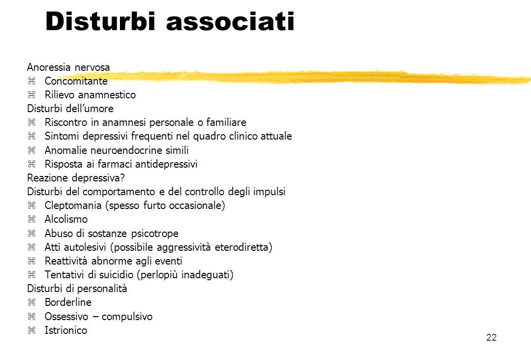 Disturbi associati Anoressia nervosa Concomitante Rilievo anamnestico