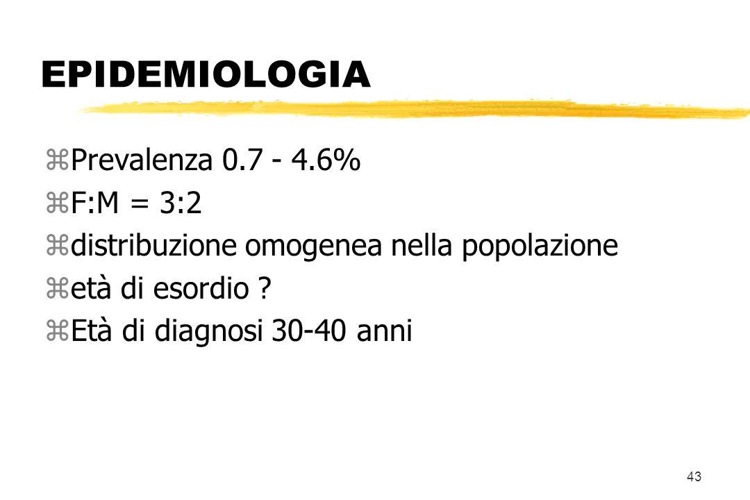 EPIDEMIOLOGIA Prevalenza 0.7 - 4.6% F:M = 3:2