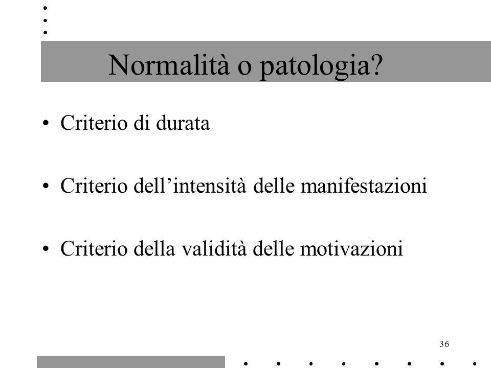 Normalità o patologia Criterio di durata