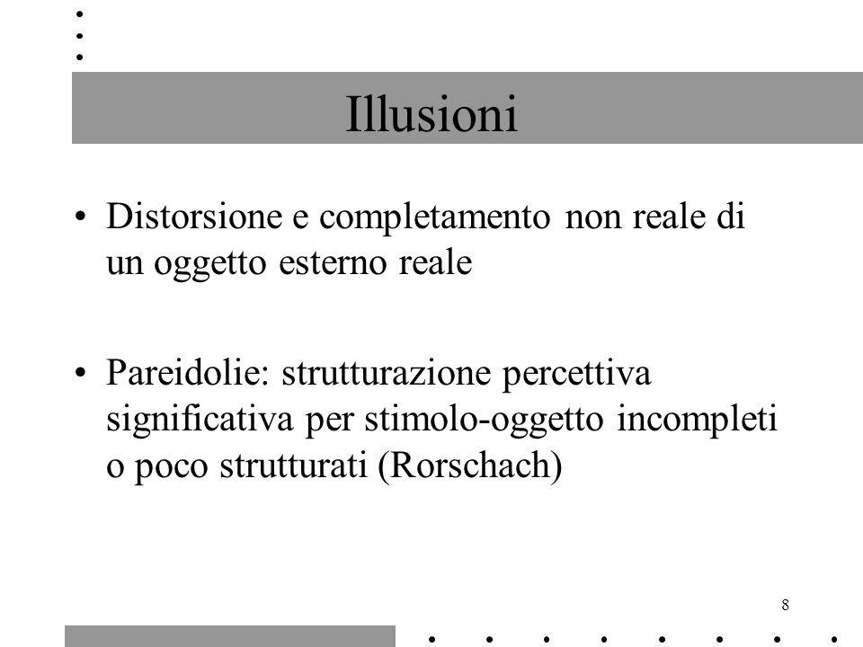 Illusioni Distorsione e completamento non reale di un oggetto esterno reale.