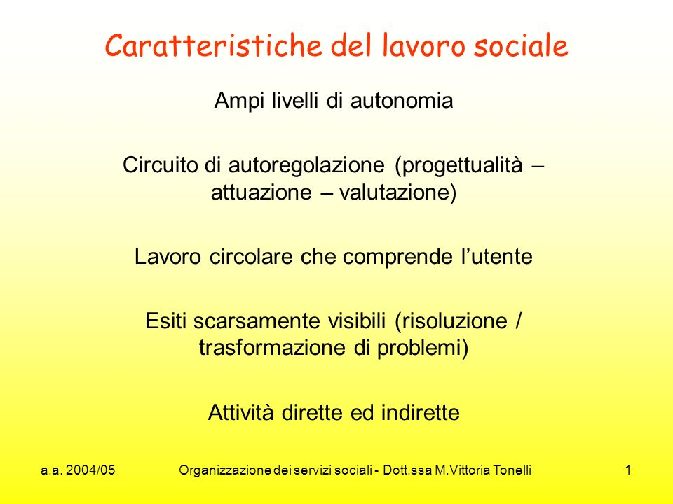 Caratteristiche del lavoro sociale