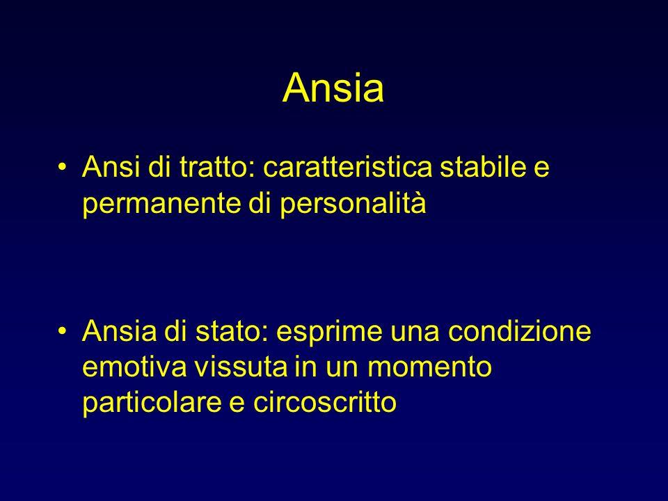 Ansia Ansi di tratto: caratteristica stabile e permanente di personalità.
