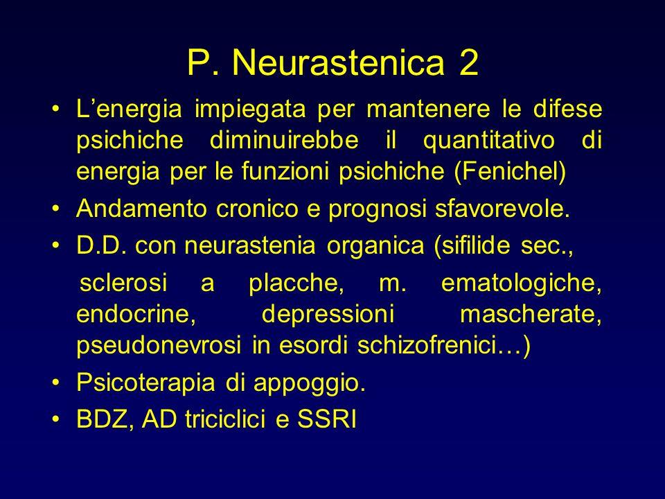 P. Neurastenica 2 L'energia impiegata per mantenere le difese psichiche diminuirebbe il quantitativo di energia per le funzioni psichiche (Fenichel)