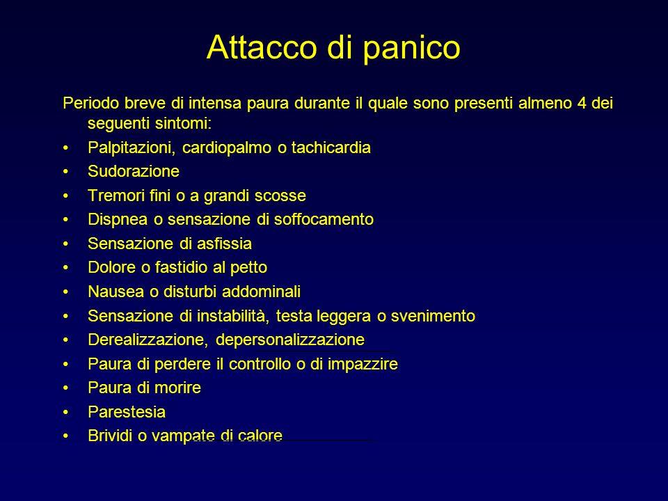 Attacco di panico Periodo breve di intensa paura durante il quale sono presenti almeno 4 dei seguenti sintomi: