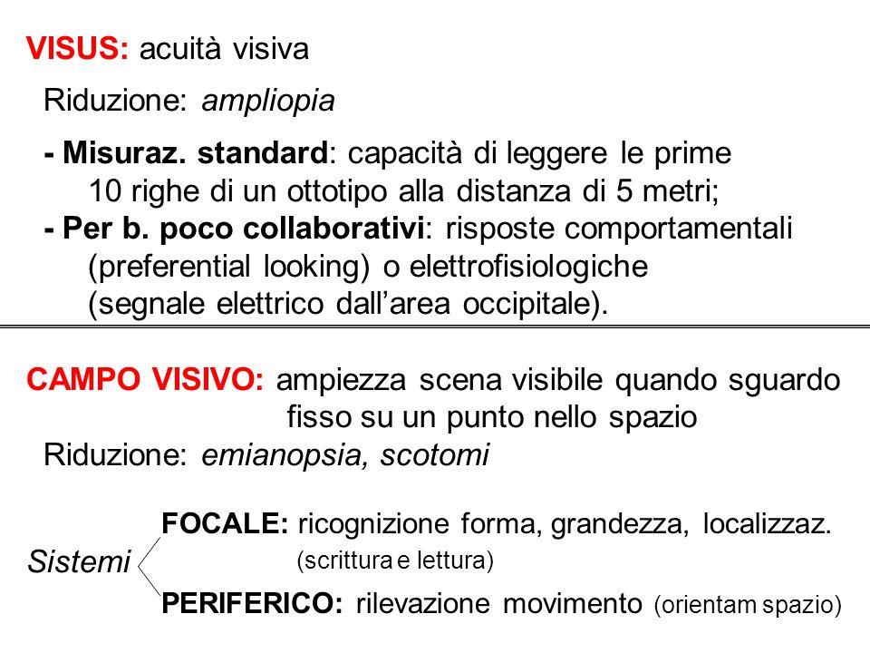 VISUS: acuità visiva Riduzione: ampliopia - Misuraz