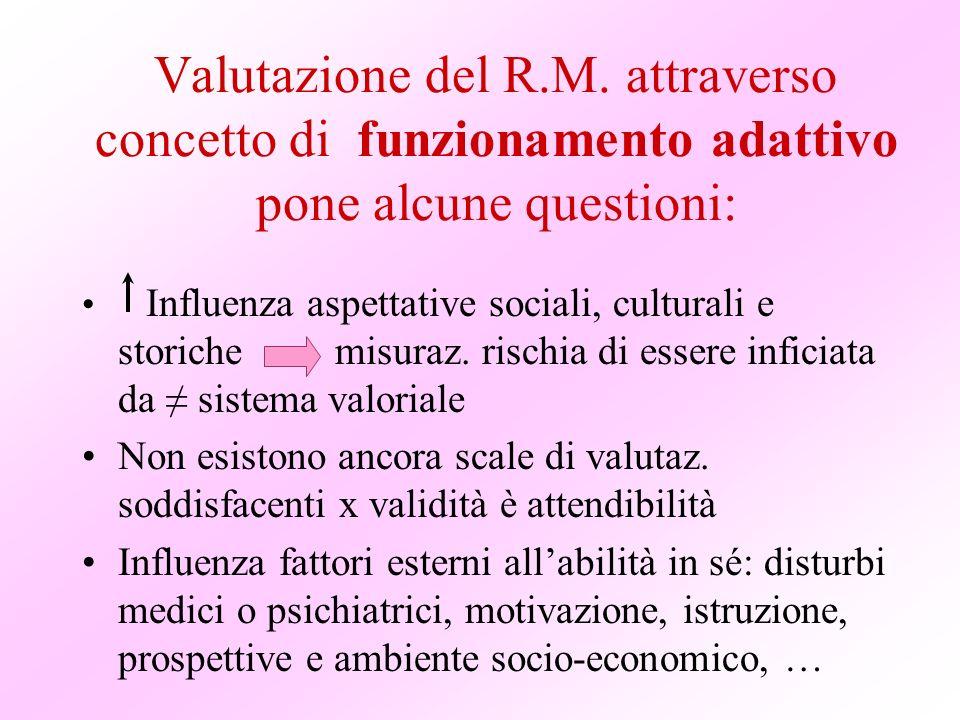 Valutazione del R.M. attraverso concetto di funzionamento adattivo pone alcune questioni: