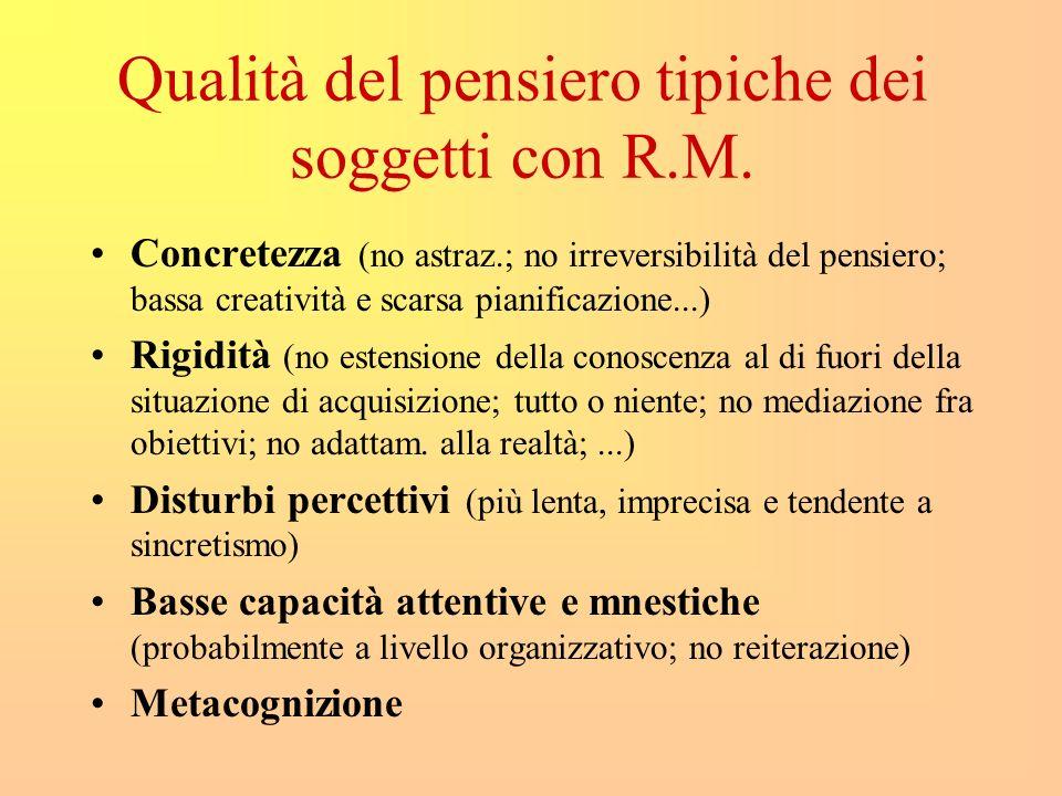 Qualità del pensiero tipiche dei soggetti con R.M.