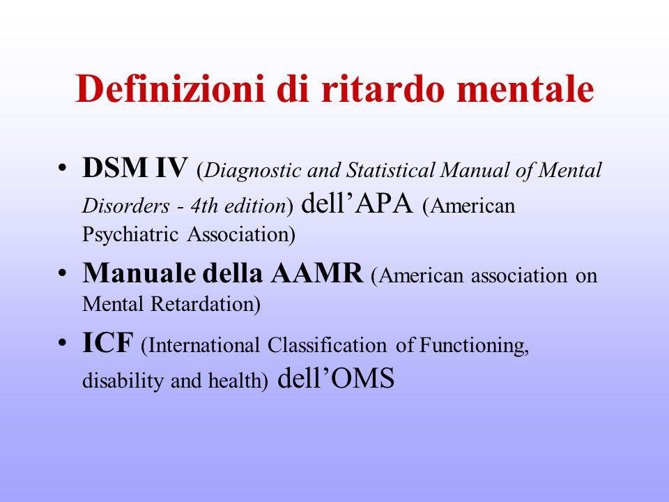 Definizioni di ritardo mentale