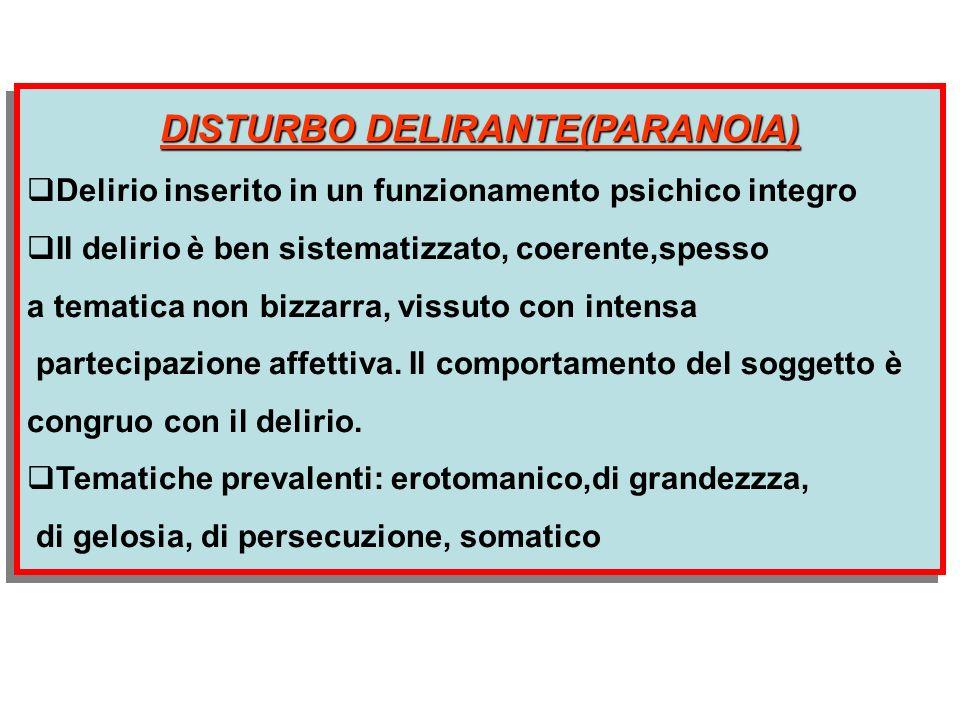 DISTURBO DELIRANTE(PARANOIA)