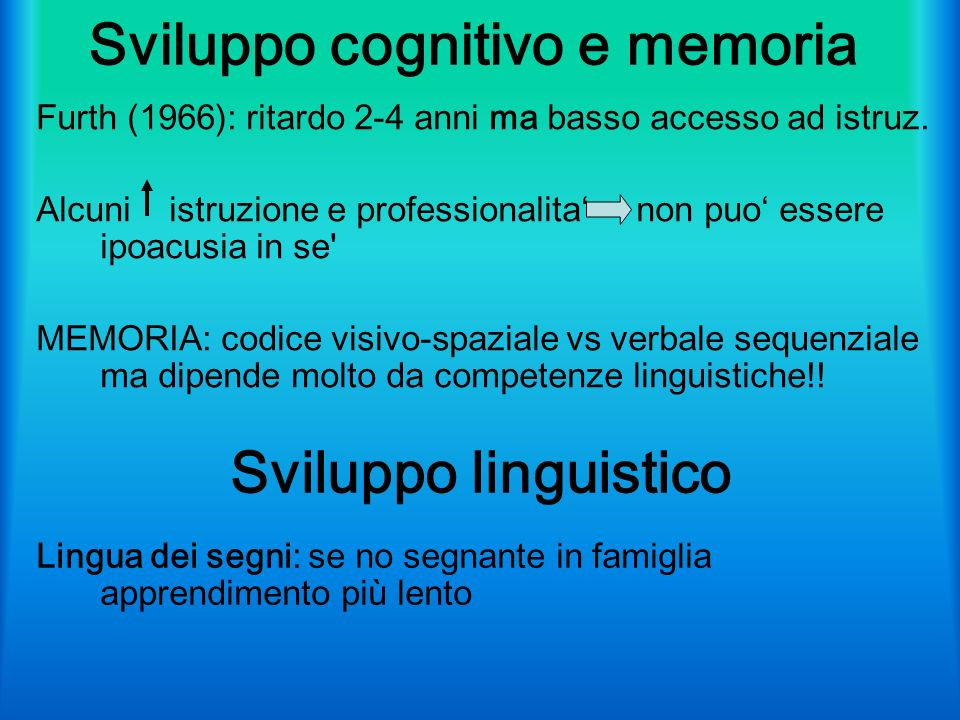 Sviluppo cognitivo e memoria