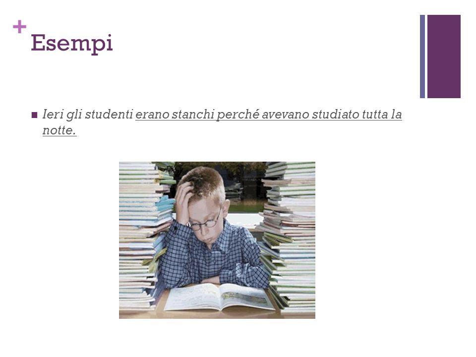 Esempi Ieri gli studenti erano stanchi perché avevano studiato tutta la notte.