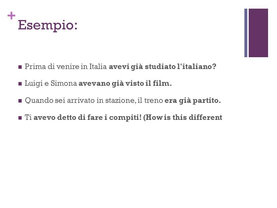 Esempio: Prima di venire in Italia avevi già studiato l italiano