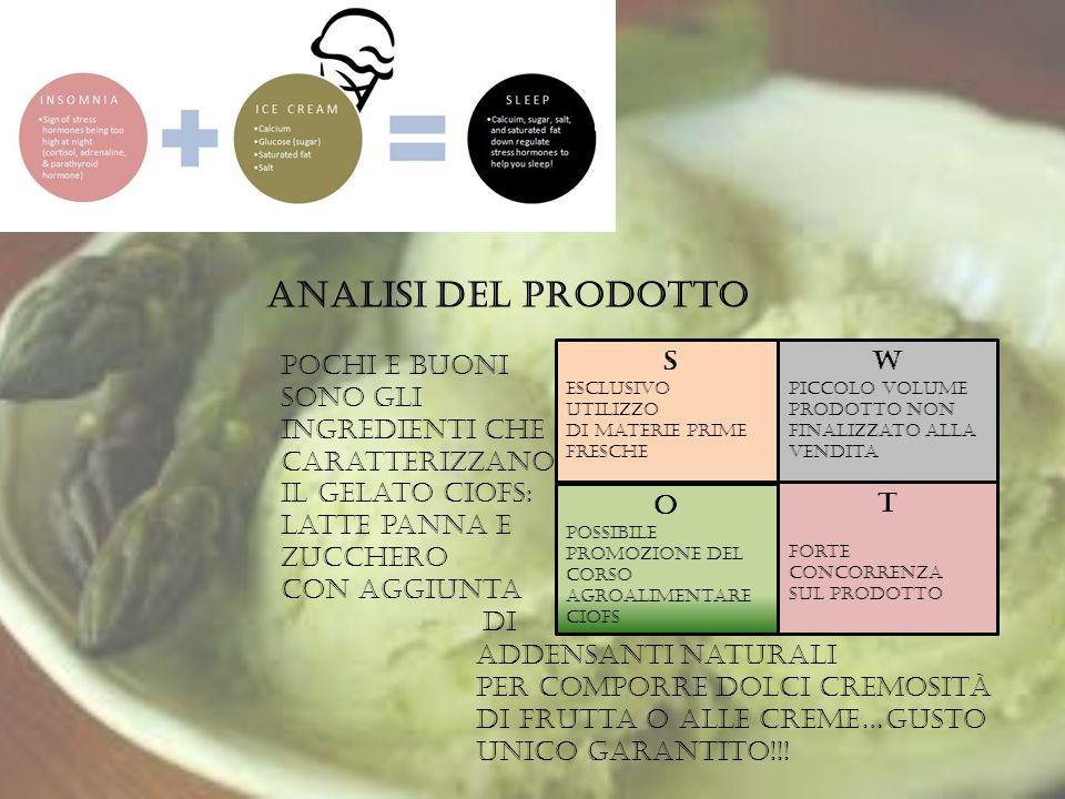 Analisi del prodotto Pochi e buoni sono gli ingredienti che caratterizzano il gelato ciofs: latte panna e zucchero con aggiunta.