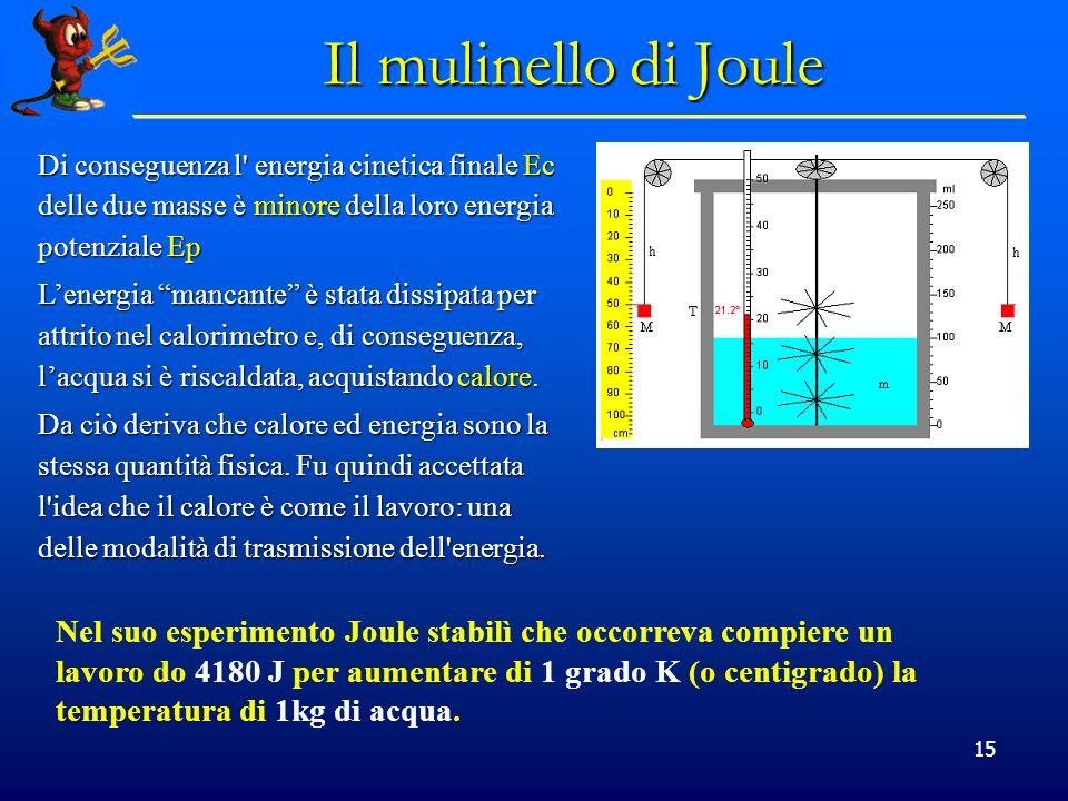 Il mulinello di Joule Di conseguenza l energia cinetica finale Ec delle due masse è minore della loro energia potenziale Ep.