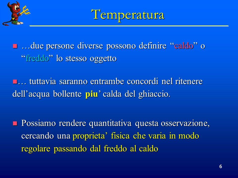 Temperatura …due persone diverse possono definire caldo o freddo lo stesso oggetto.