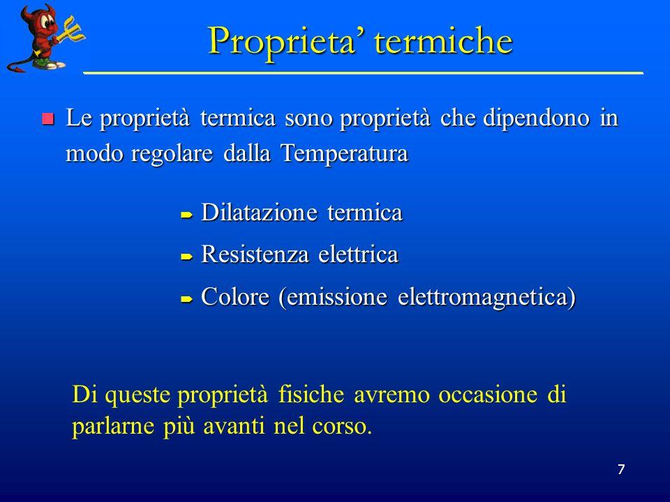 Proprieta' termiche Le proprietà termica sono proprietà che dipendono in modo regolare dalla Temperatura.