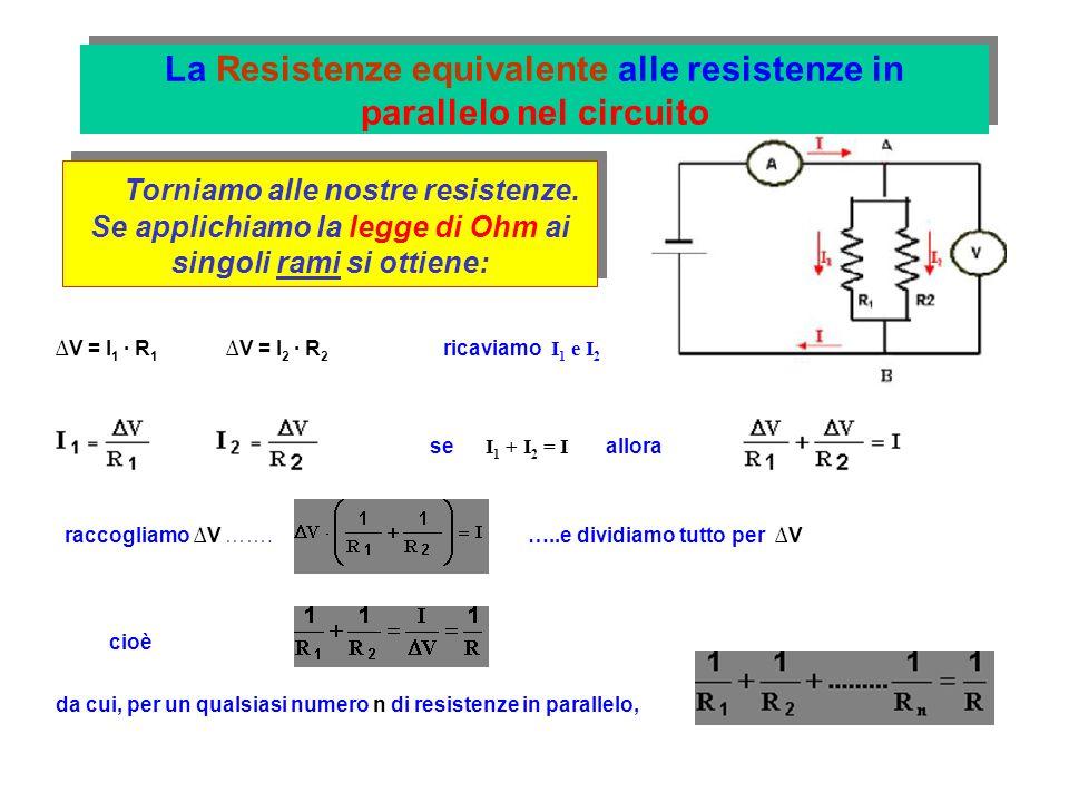 La Resistenze equivalente alle resistenze in parallelo nel circuito