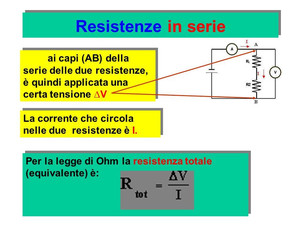 Resistenze in serie ai capi (AB) della serie delle due resistenze, è quindi applicata una certa tensione ∆V